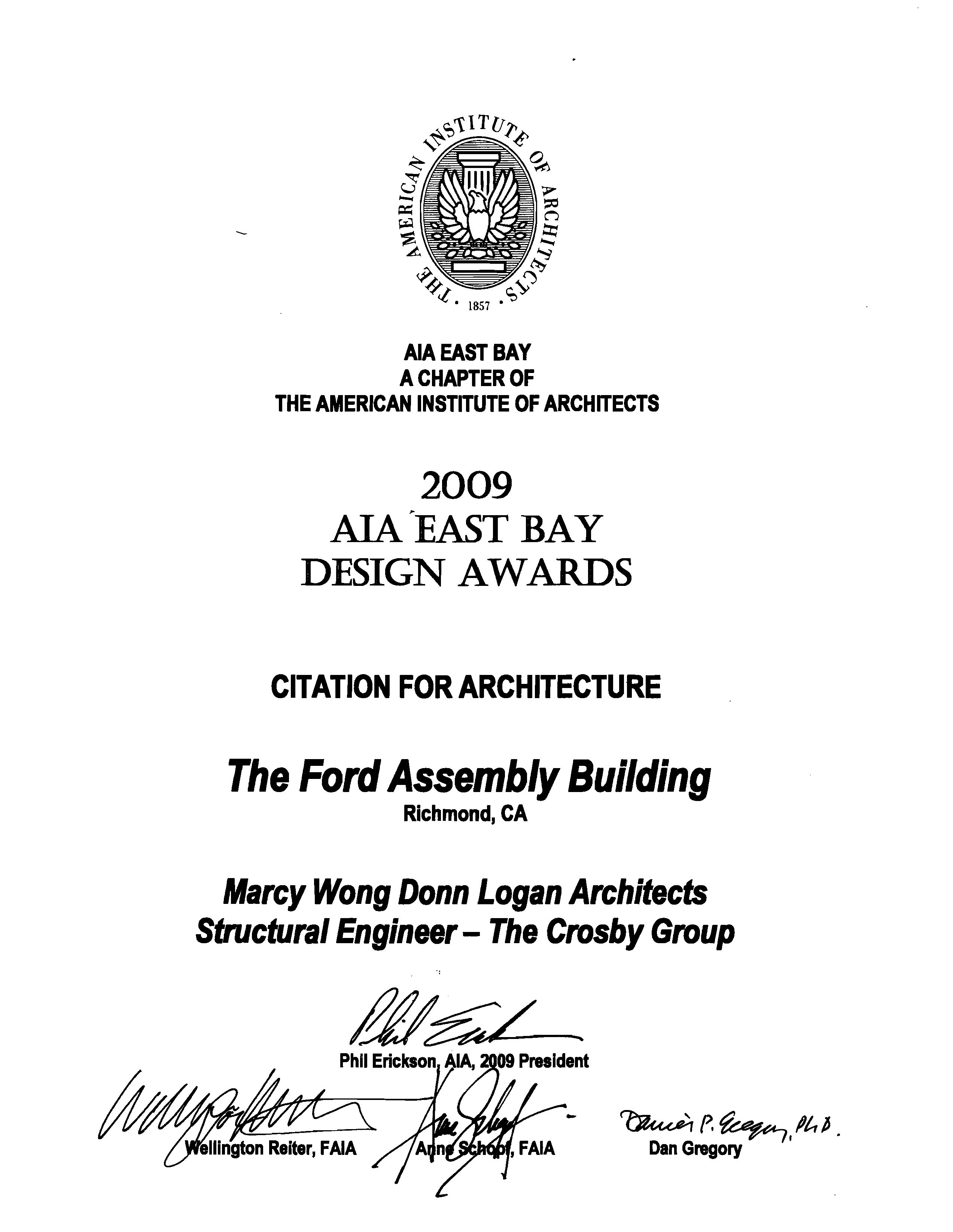 AIA Award Certificate-Ford Bldg